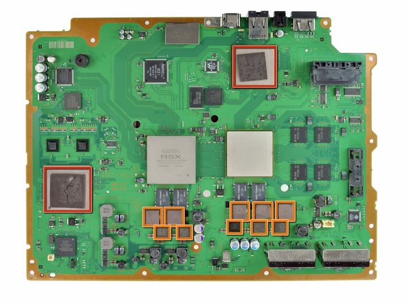 Using your fingers or the flat end of a spudger, remove the old thermal pads on the logic board as indicated: