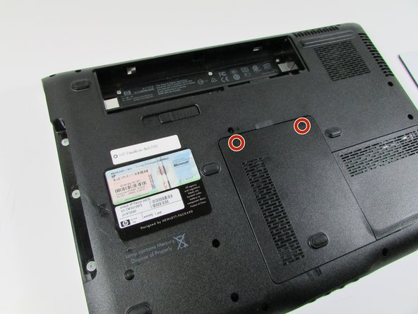 Remove the RAM port cover by unscrewing the two screws.