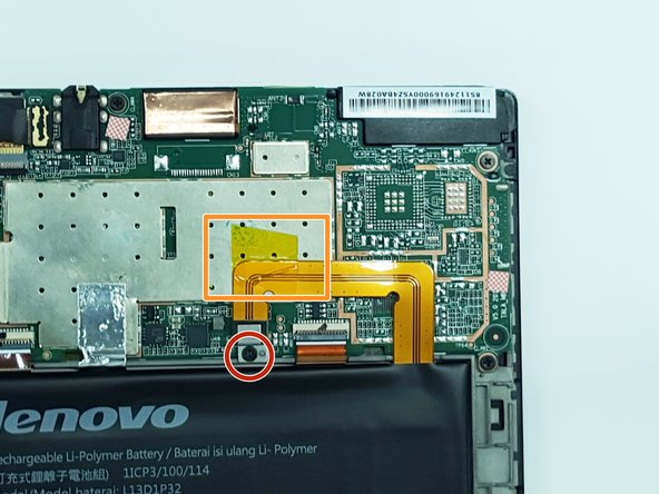 After the cover has been removed, unscrew the M1.6 x 2mm screw from the battery cable with a j000 Philips head bit.