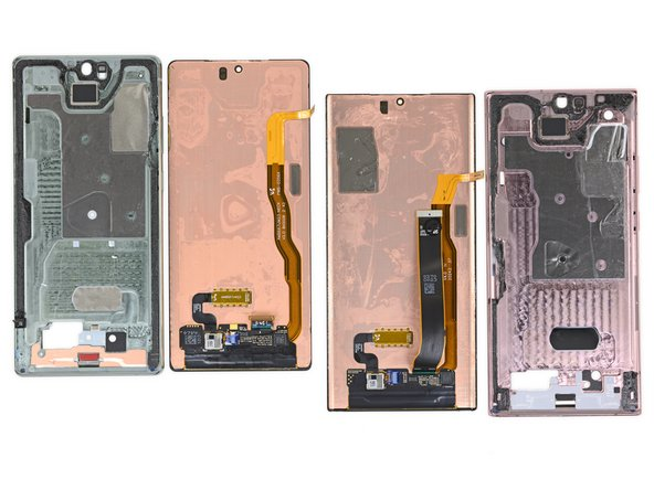 Last to leave their metal home are the two AMOLED displays. And behind them is some of that copper we were looking for!