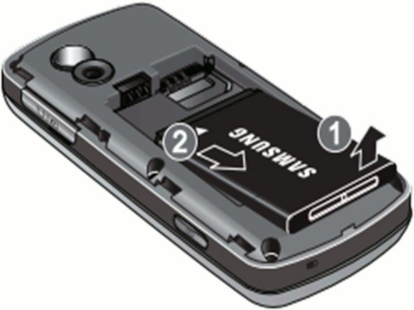 Gently lift up and remove battery with your fingers in the direction of the arrows.