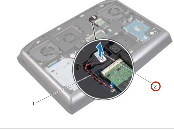 Remove the coin-cell battery cable from the routing guides on the computer base.