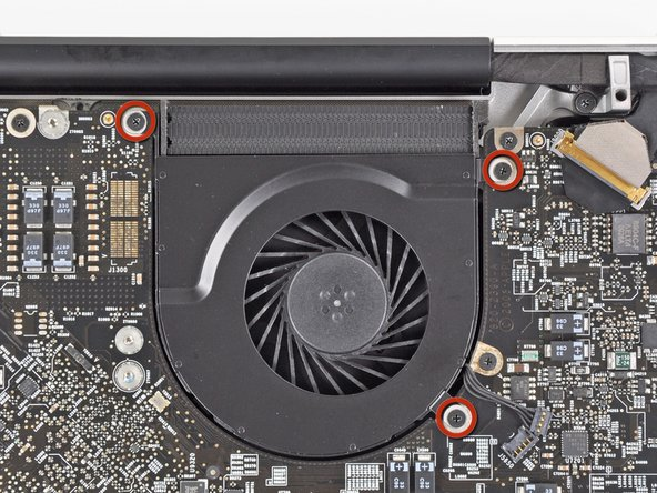 Remove the three 3.1 mm Phillips screws securing the left fan to the logic board.