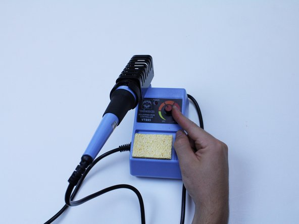 Plug in the electric soldering iron and set the solder temperature to the degrees that suits the melting point of both the soldering wire and the barrel clasp.