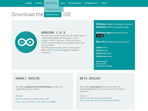 Make your way to the Arduino downloads page at  https://www.arduino.cc/en/Main/Software.