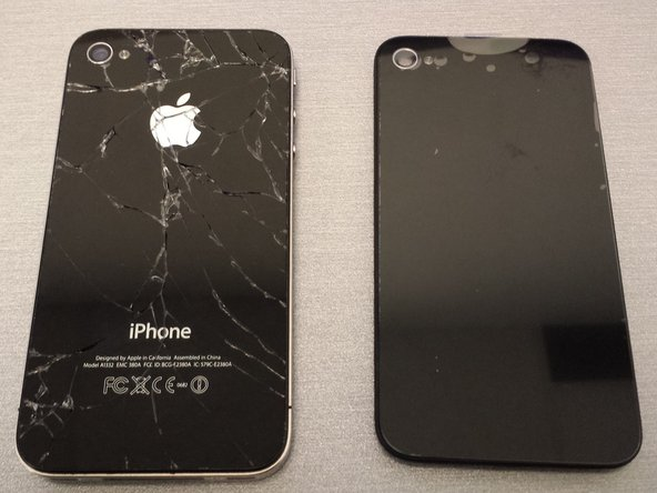 Here you can see the original cracked rear panel and the replacement panel.
