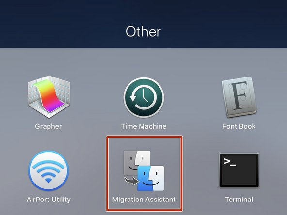 Power on your Mac and open the Migration Assistant application.