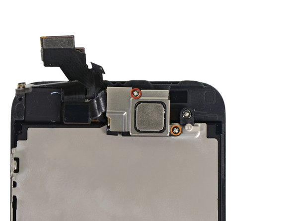 Remove two screws securing the front-facing camera bracket to the display assembly.