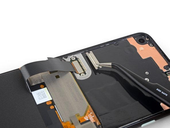 Use a pair of tweezers to remove the screen connector bracket.