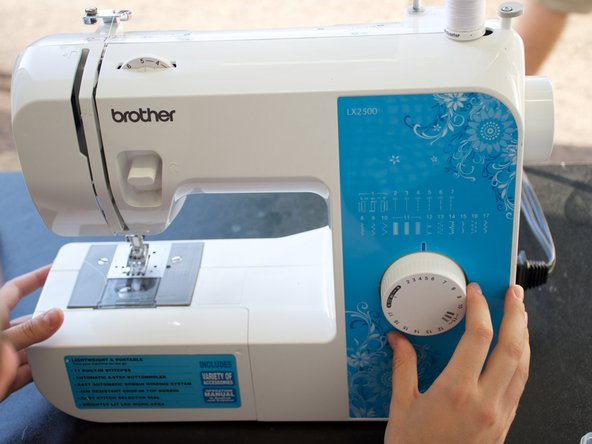 Thread the sewing machine and set it to your desired stitch length.