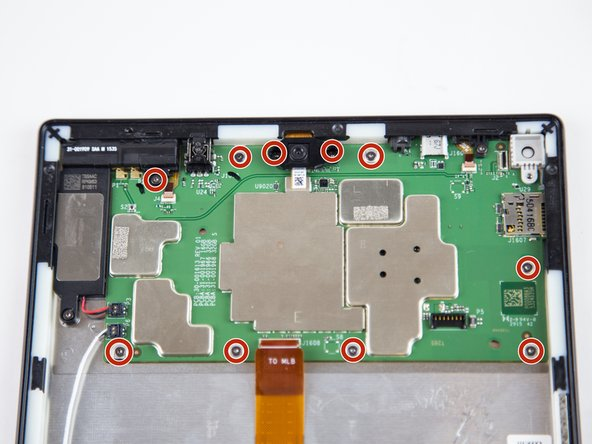 Remove the ten T5 Torx screws securing the motherboard to the case.