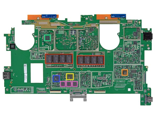 Checking out the top surface of the motherboard: