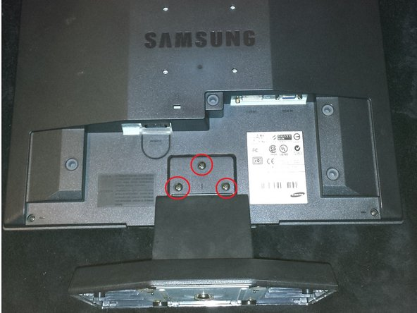 You will need a phillips screwdriver and a replacement power board which can be ordered online 1. First, place the monitor face down, then remove the plastic covering if it's on Once this is done remove the three screws shown below. Once these screws are removed, the stand is able to be removed.