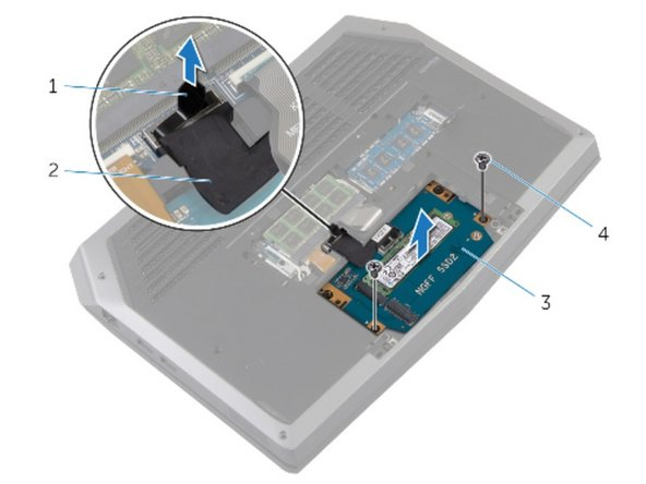 Align the screws on the solid-state drive bracket with the screw holes on the solid-state drive assembly.
