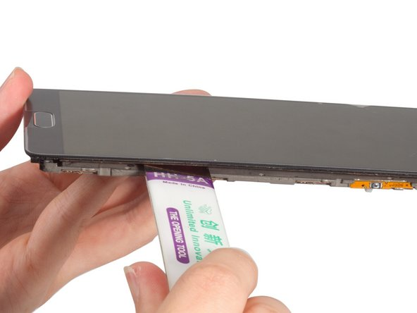 Cut the adhesive between LCD screen and mid plate carefully. Especially care about the position of the flex very much.