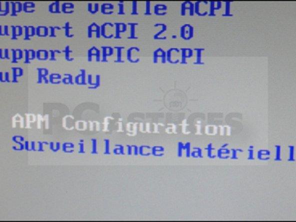 Allez ensuite sur APM configuration et appuyez sur Entrée.
