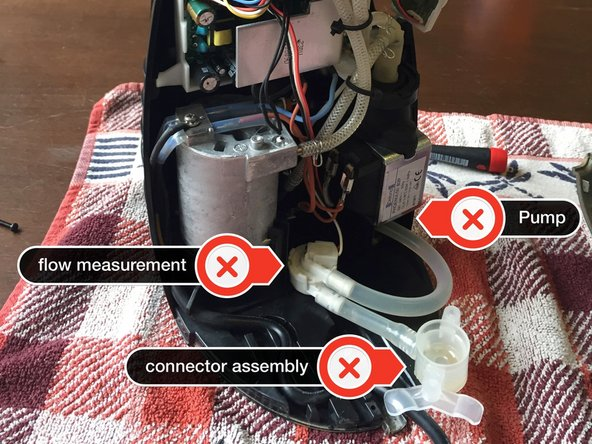 There are three common places for the leak to occur. The flow rate measurement, the connector assembly to the water tank and the pump assembly.