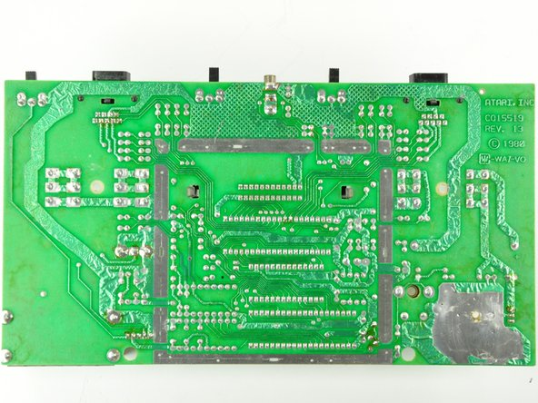 The back of the Atari 2600 Motherboard has exactly nothing interesting on it, except a great appreciation for through-hole soldering and hand drawn circuits.