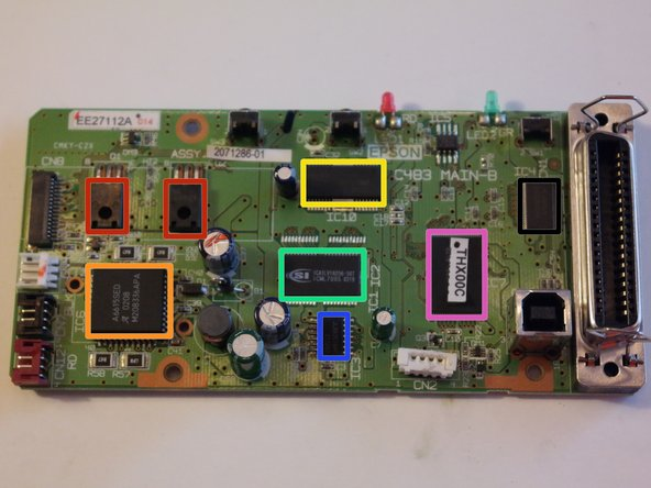 The chips on the logic board.