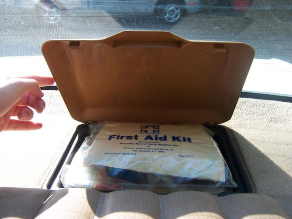 Before being able to proceed you will need to remove the first aid box. This guide does not cover this step, but basically, when you remove the first aid kit you will see several Phillips screws in the bottom of the box. Remove those and the first aid box lifts out.