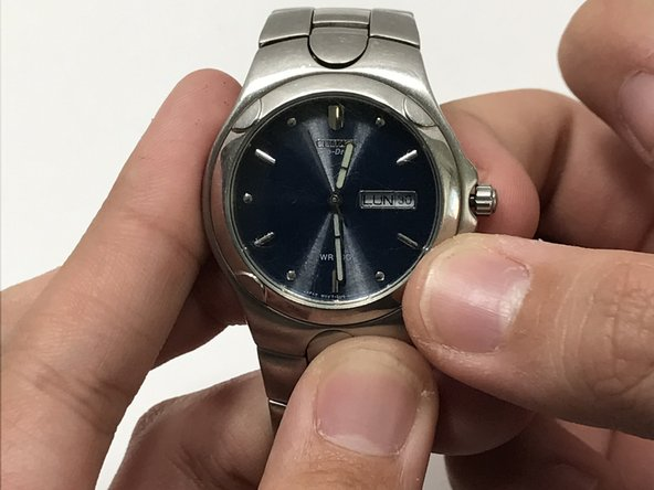 """Pull the knob out for thirty seconds to place the watch in its """"all reset"""" mode."""