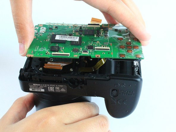Remove the motherboard by lifting it directly up.