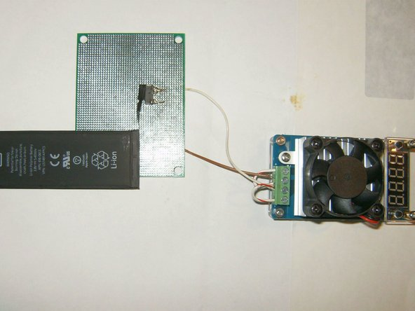 The prototype board was then connected to the EBD Constant Current Electronic Load capacity tester. Shown here with the standard battery connected