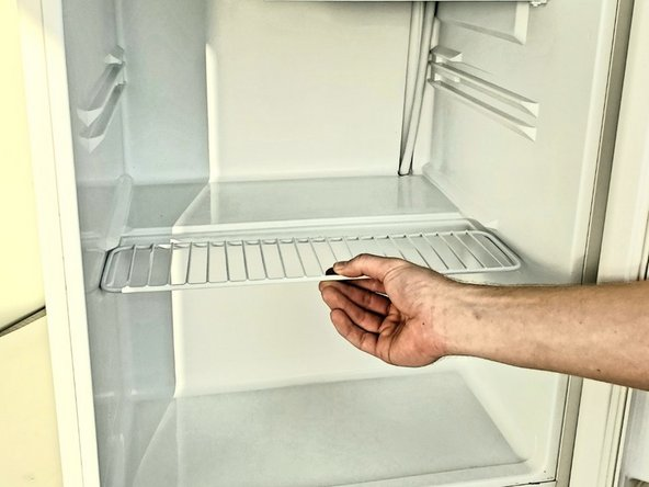 Remove all food items and shelves from the fridge.