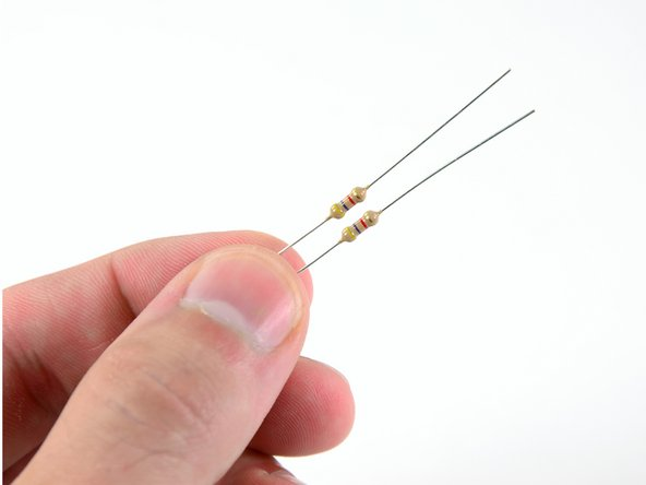 Fish the two yellow/violet/red resistors out of your kit.