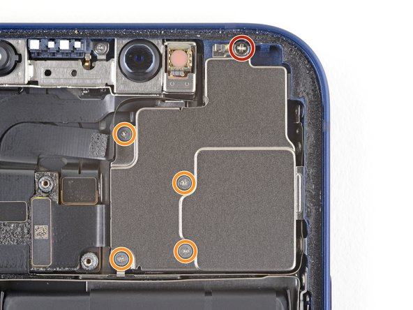 Remove the five screws securing the rear-facing camera sensor.