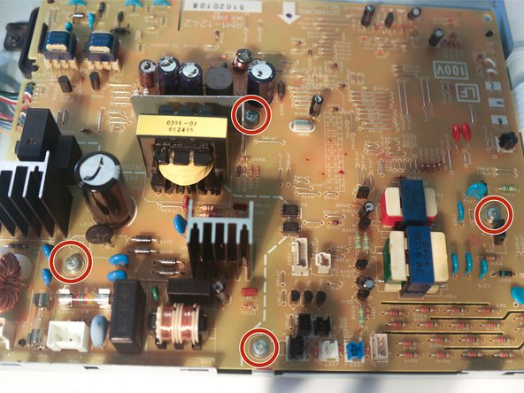 Remove 4 screws on the control board to remove it from the metal plate.