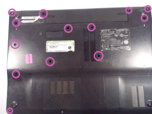 Remove highlighted screws from back of laptop.