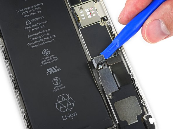 Use a clean fingernail or the edge of an opening tool to gently pry the battery connector up from its socket on the logic board.