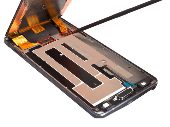 Release S Pen touch sensor film connector and LCD screen connector.