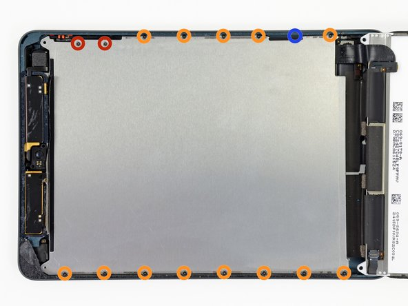 Remove the following screws securing the LCD shield plate to the rear case of the iPad:
