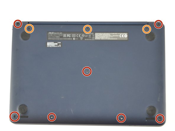 Remove ten Phillips #00 screws located on the bottom of the laptop: