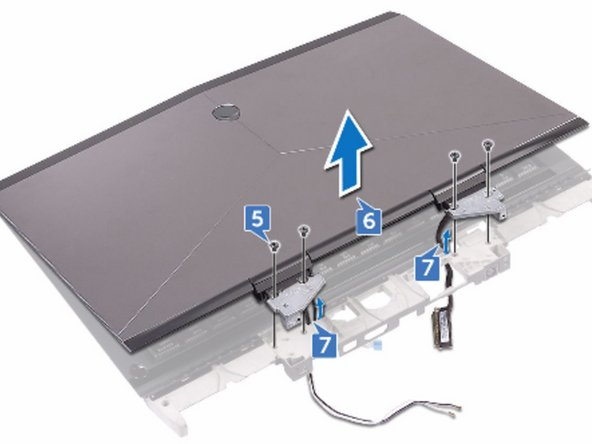 Remove the four screws (M2.5x6L) that secure the display assembly to the  palm-rest assembly.