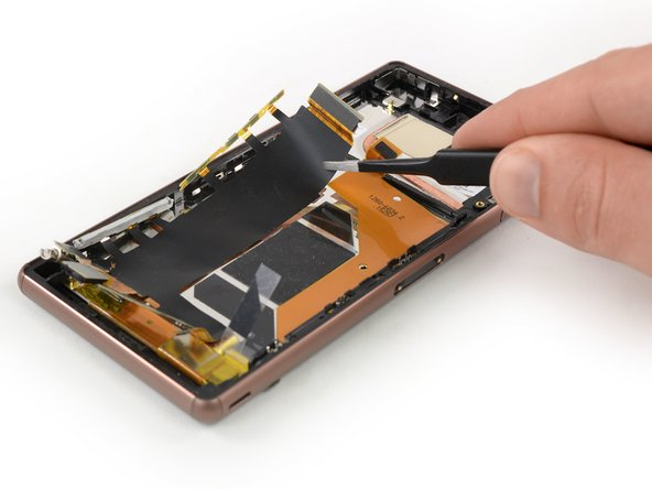 Flip the phone back over and use a pair of tweezers to carefully peel the main flex cable off the midframe.