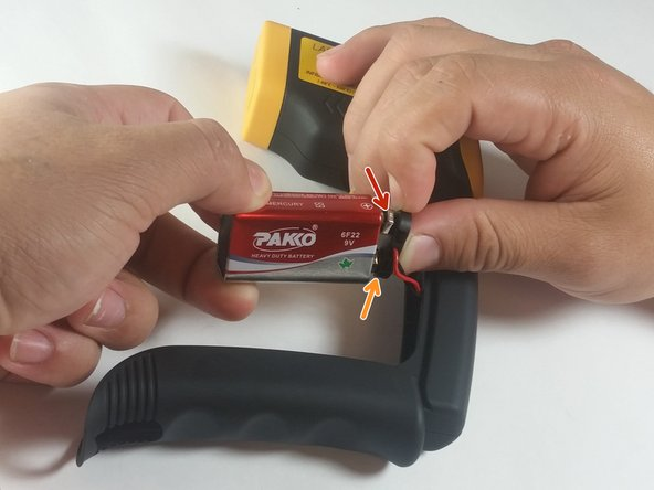 Disconnect the battery by pulling the connector away from it.
