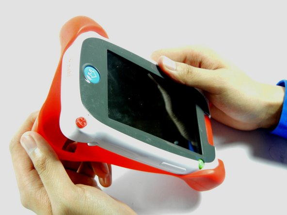 Remove the red rubber case from the device. This should come off with ease.