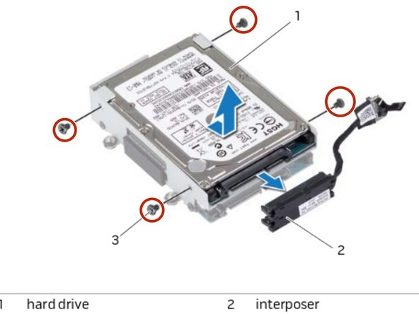 Remove the screws that secure the hard drive(s) to the hard-drive bracket and slide the hard drive(s) out of the hard-drive bracket.