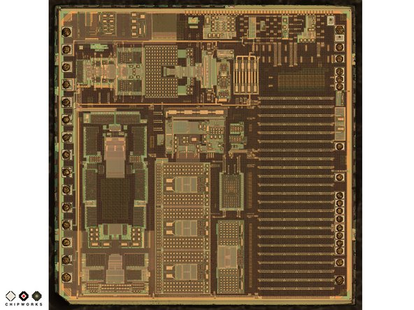 The V654A ASIC die (seen on the left) converts the tiny capacitive signals from the GK10A MEMS die into a digital signal which is fed into the iPhone 4.