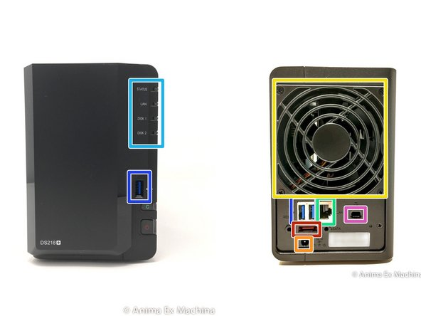 Here are the different interesting faces of the case: front (bay disks), rear (connectors and fan).