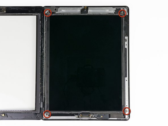 Remove the four 2 mm Phillips #00 screws securing the LCD to the aluminum frame.
