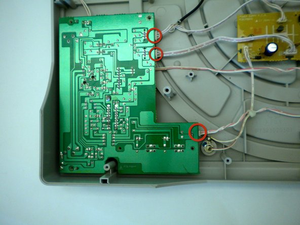Locate the wires that are plugged into the side of the circuit board.