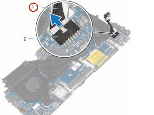 Disconnect the power-adapter port cable and remove the power-adapter port from the system board.