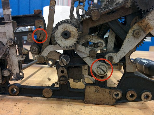"Remove two screws, #8-36, 10/32"" and 3/16-32, threaded length 7/16""."
