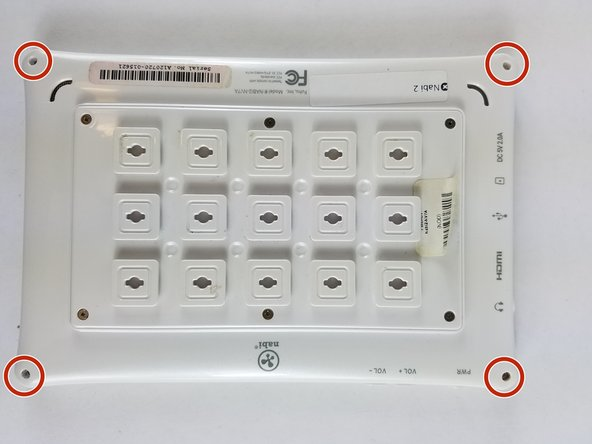 With a PH00 screwdriver, remove the four outermost screws from the back of the tablet.