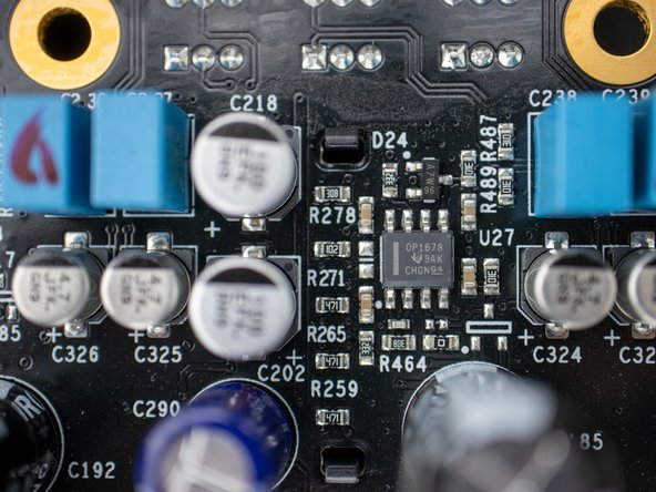 OPA1678 (marked OP1678) by Texas Instruments. Dual channel low noise low distortion operational amplifiers. Data sheet.