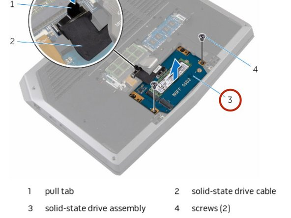 Align the screw holes on the solid-state drive bracket with the screw holes  on the solid-state drive assembly.